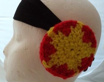 Crocheted Earmuffs Headband - Red and Yellow Star (SWG-HH-GGSUST01)