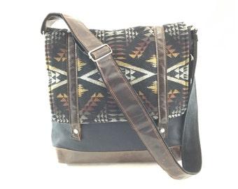 SALE- Messenger Bag with Diamond River Pattern
