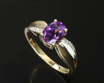 Vintage! 10K Yellow Gold Ring with Amethyst and Diamonds
