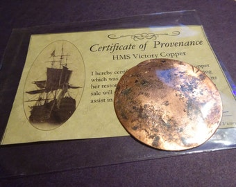 Piece of copper taken from the HMS Victory ship with King's Mark