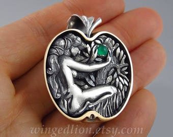 EVE's APPLE silver and bronze pendant with Chrysoprase
