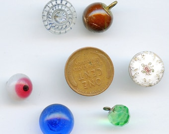 Victorian Buttons Glass (6) DIFFERENT COLORS  Vintage Various Shapes and Sizes  Lot Antique 3019