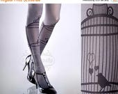 ON SALE/// Tattoo Tights, Bird Cage Asphalt one size full length closed toe printed tights pantyhose, by tattoosocks