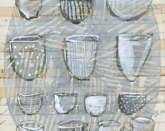 original drawing -  collection of bowls & cups by olivia jeffries