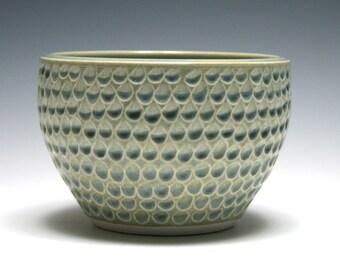 Small Ceramic Bowl, Ocean Blue Bowl, Dimpled Carving, Home Decor, Handmade Pottery