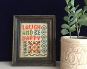 Vintage Framed Cross Stitch Laugh and Be Happy FREE SHIPPING