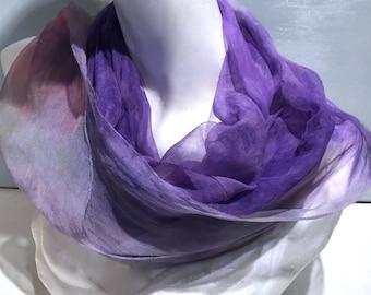 "Purple pink Silk gauze silk fabric, Hand Dyed silk scarf, 12 x 120"" lavender purple pink green, learn nuno wet felt kit, tutorial, DIY GIFT"