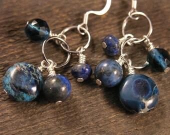 Royal blue lapis lazuli, jasper stone, blueberry quartz, and silver ring handmade earrings