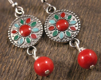Red dyed bamboo coral beads, flower charm and silver handmade earrings