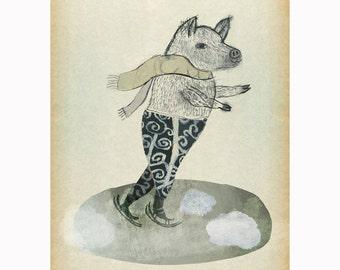 The Pig Ice Skates