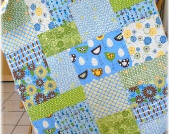 SALE Modern Baby Quilt Nursery Bedding Crib Bedding Girl, funky birds, whimsy flowers, blue green