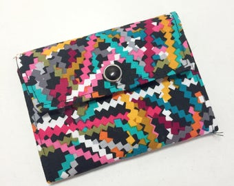 Womens Wallet, Small Black Wallet, Fabric Wallet with Pockets and ID Pocket