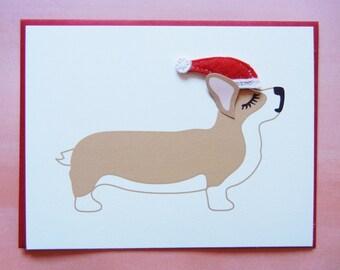 Christmas Welsh Corgi Dog Santa Holiday Felt Santa Hat Blank Note Card with Envelope