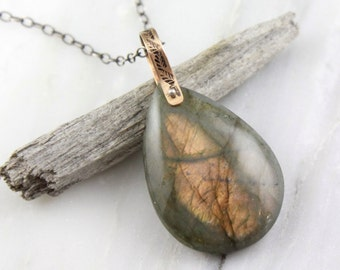 Labradorite with Rose Gold Stamped Bail on Oxidized Silver Necklace
