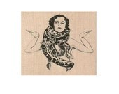 snake lady Circus woman rubber stamp   stamps stamping  number 19113 freaks oddity charmer vintage style