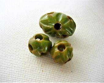 Rare Carved Vintage Bakelite Focal Beads-Green/Butterscotch-Test Positive
