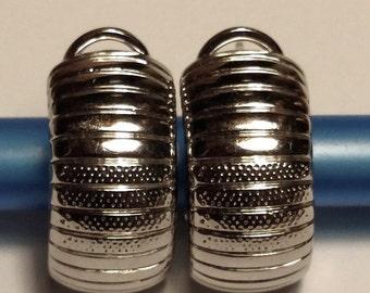 SALE TODAY Elegant Vintage Estate Wide Half Hoop Pierced Silver Huggies Earrings