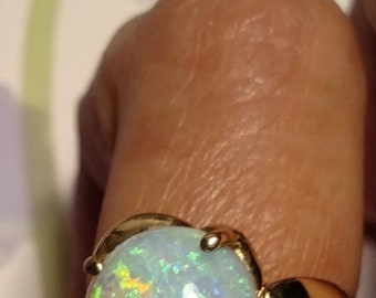 SALE TODAY Vintage Solid 14K Yellow Gold Opal Diamond Cocktail Engagement Promise Statement Ring Size 5.5 Birthstone Birth Stone