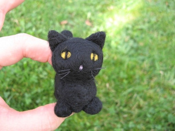 Felted Black Cat Kitty Shadow the Needle Felted Miniature
