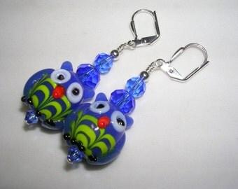 Owl Earrings Green and Blue Owls HOOT Owl Jewelry Lampwork Glass Owls Raptor Earrings Leverback Hooks Swarovski Crystals Gifts under 5