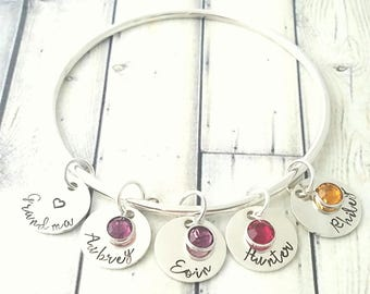 personalized bangle-bangle bracelet- personalized bracelet-gift for mom-bracelet for mom-nana bracelet-grandma bracelet