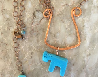 Copper necklace with blue turquoise horse