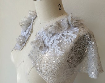 Deco Sequin Tulle Capelet. One of Kind Sample Sale