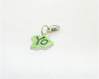 Green YO lobster claw charm for link bracelets and necklaces, Clip on charm, Purse charm, Backpack charm, Zipper charm, Vintage charm, Gift