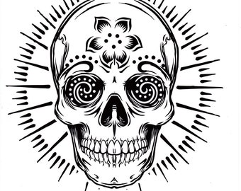 five different sugar skull tattoo coloring pages printable digital download no 480 - Sugar Skull Tattoo Coloring Pages