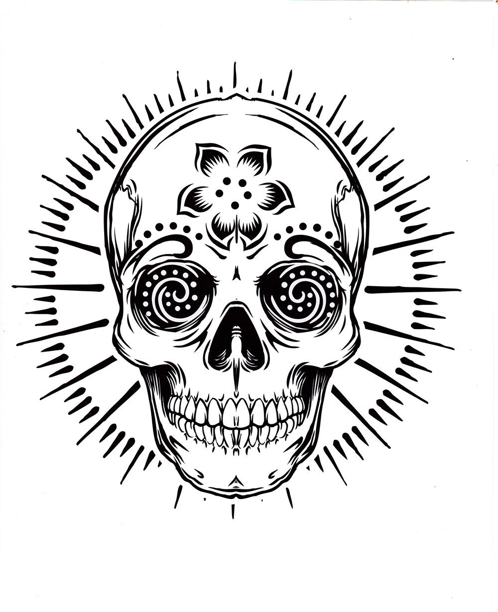 five different sugar skull tattoo coloring pages, printable ...