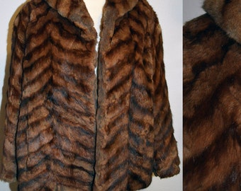 OH PARIS - SALE Vintage 1940s Al Hermine Royale Paris Ermine Chevron Fur Swing Jacket - Small Med