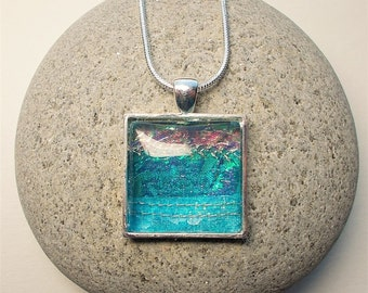 Square Pendant, Textile and Resin, Iridescent, Turquoise, Pendant