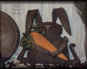Primitive Grungy Black Easter Bunny Rabbit Doll with Carrot Handmade Prim