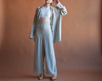 silver gray oversized silk pant set / wide leg pant suit / slouchy pant set / s / m / 2070t / B11