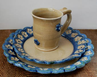 Three Piece Dinnerware Set Cream and Cobalt with Flowers Stoneware Clay Pottery Ready to Ship