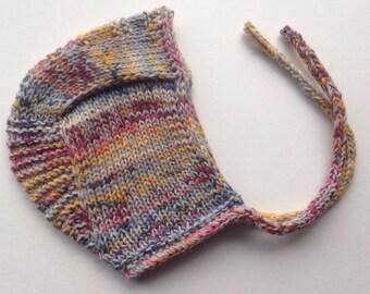 SALE!  Newborn 0-3 Months Hand Knit Washable Wool and Alpaca Pilot Cap / Hat