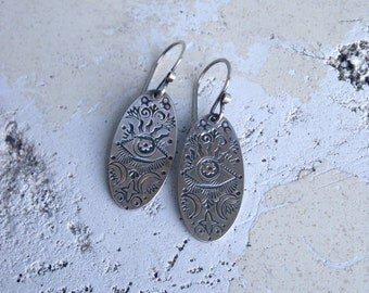 Gypsy Eye Sterling Dangle Earrings