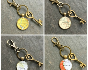 Custom Map Keychain Bronze with Ring Swivel Clasp and Key Vintage Atlas Your City Choice