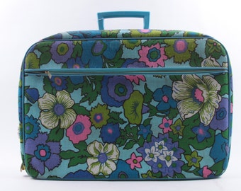 Incredible, 1960s, Vintage, Luggage, Floral Suitcase, Blue Flowers, Psychedelic, 60s ~ The Pink Room ~ 170115