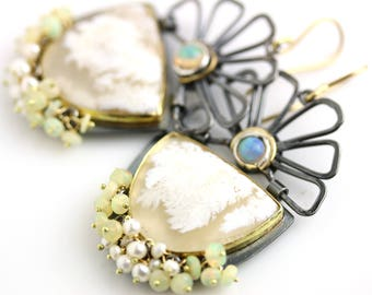 Hinged Flower Earrings with White Plume Agates and Ethiopian Opals