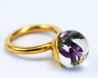 Hether Resin Ring, Gold-plated Sterling Silver Ring, Resin Jewellery, heather Jewelry, flower ring