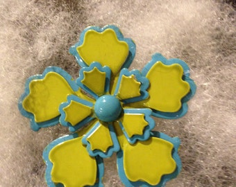 Magnetic Brooch, Vintage Flower, Blue and Chartreuse