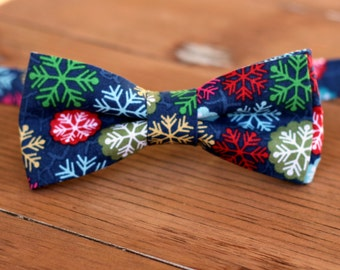 Boys Snowflake Bow Tie - boys Christmas snow blue gold red bowtie - bow tie for baby infant toddler child preteen boy - holiday bow tie