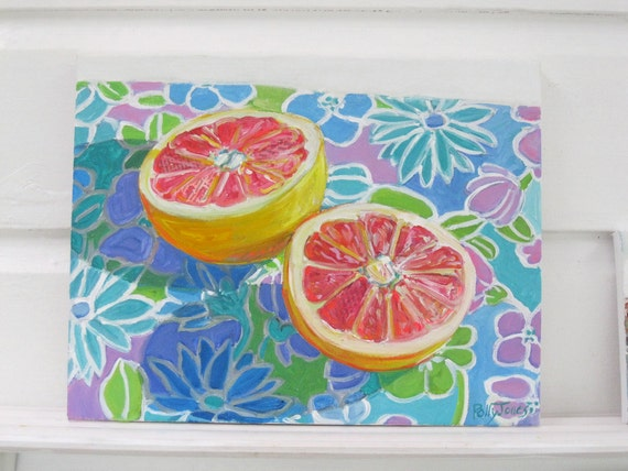 Mod Grapefruit original mixed media still life painting by Polly Jones