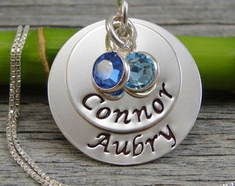 Hand Stamped Jewelry - Personalized Jewelry - Mothers Necklace - Sterling Silver Necklace - Two Names Two Birthstones