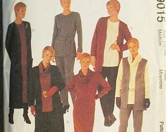 1990s Sewing Pattern McCalls 9015 Misses Cardigan, Vest, Dress, Tunic, Pants, Cowl & Tie Belt Pattern Size Medium (12, 14) Uncut