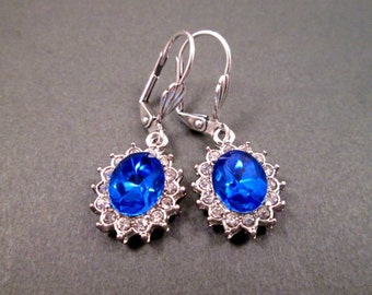 Rhinestone Earrings, Sapphire Blue Rhinestone and Silver Dangle Earrings, FREE Shipping U.S.