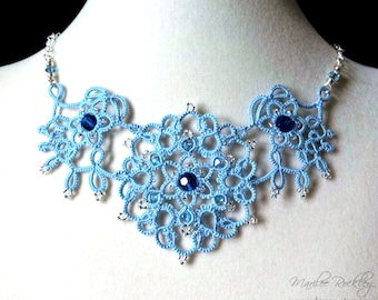 """Lace necklace """"Art Nouveau"""" light blue tatting with blue crystal beads argentium silver chain mixed media fiber art jewelry"""