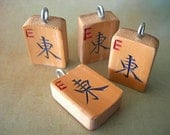EAST Vintage Mah Jong Bamboo Tile Pendant Sturdy Handmade lot of 1 Chinese character 1920s - 1940s