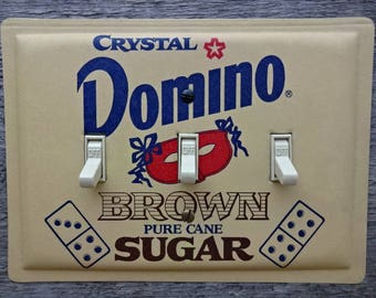 Kitchen Light Switch Cover Retro Decor Domino Brown Sugar Triple Switchplates Made From Old Vintage Tin Canisters TP-4021